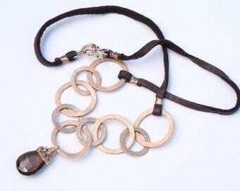 Circles of Bronze Necklace (Handmade Bronze Chain & Bead Cap, Smoky Quartz)