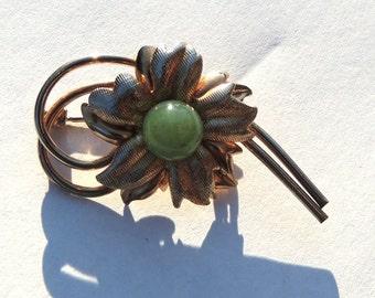 18KTGF 1/20 Green Flower Brooch Pin Vintage Jewelry