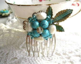 Turquoise floral hair comb, vintage earring hair comb, bride, bridesmaid, flower girl, mother, verdigris leaves, woodland, barn, country