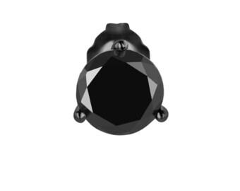 1.05 Carat Fancy Black Diamond Single Martini Stud Earring Vintage Style 14K Black Gold Handmade