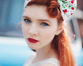 Cherry Bow Headband, Kitsch Headband, 1950s Pin Up Girl, Rockabilly Hair Accessory- IN TWO COLOURS