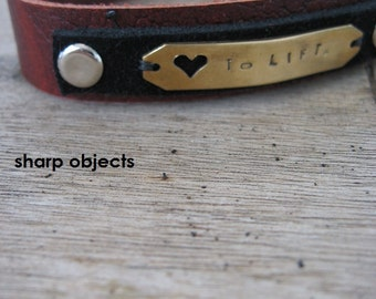 Love to Lift - unisex dark brown & black layered textured leather cuff, stamped brass tag, adjustable custom fit with gym motivation quote