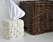 Tissue Box Cover Modern Home Decor Cream Off White Basket Weave