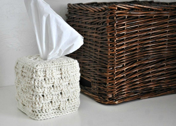 Tissue Box Cover Modern Home Decor Cream Off White Basket