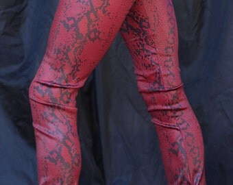Red Snakeskin Wax Coated Leggings-XS to MED