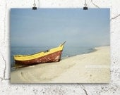 boat on a shore, seascape photography, 8x12 photo, summer beach print, seaside bathroom decor, ocean blue, sand, yellow red boat photography