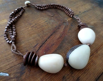 Ivory Tagua Beads, Bronze Ceramic Cornflake Disks, Cube Wood Beads, Brown Linen, Necklace