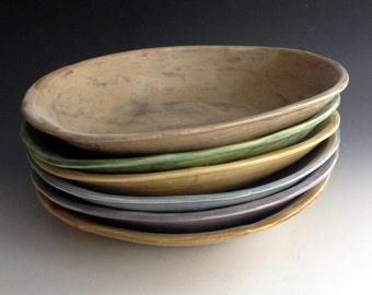Set of Six, Pasta Bowls in Six Earth Tones, Handmade stoneware pottery by Leslie Freeman