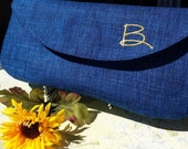 Custom Embroidered Metallic Initial Navy Bridal Clutch