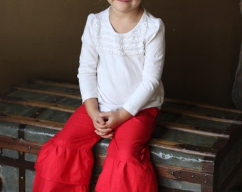 Red Double Ruffle Pants Size 9 months to 4T