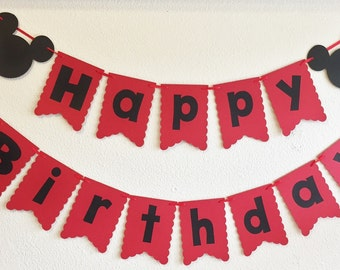 Mickey Mouse Clubhouse | Red Black Birthday Banner | Photo Prop