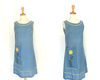 1960s Shift Dress - 60s dress - sundress - Basila - sheath - mod dress - vacation dress - M L