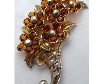 Extra Large Cornucopia with Amber Crystals. Brooch Set in Brass Apparel & Accessories Jewelry Vintage Jewelry Brooch Rhinestone