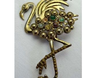 Flamingo with Multicolor Rhinestones. Brooch Set in Brass Apparel & Accessories Jewelry Vintage Jewelry Brooch Rhinestone