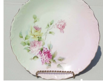 Germany Dinner Plate Gold Leaf China White Pink & Green with Pink and Yellow Roses Flowers Serving Plate Serveware Serving Plates Tableware