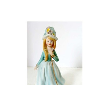 Victorian Girl with Blonde Hair and a Poodle Pastels of Blue and White Bisque Gold Leaf Figurine Home and Garden Collectibles Figurines