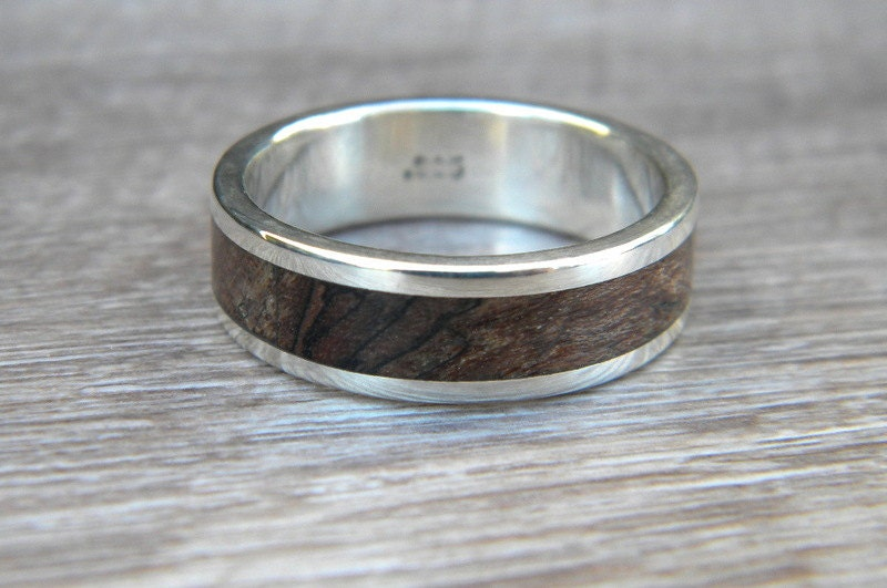 wood wedding ring wood and silver ring stabilized wood