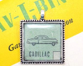 Cadillac Auto Car Bingo Pendant Necklace Retro 1950s Image Key Ring