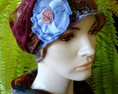 Chemo Hat womens soft hat Flapper Deco brown floral lace burgundy lace with blue flower