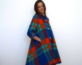 60s Colorful Oversized Plaid Print Extreme Trapeze Circus Coat s m