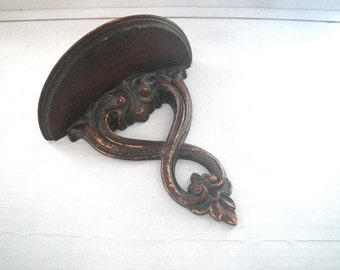 Syroco Carved Wood Wall Shelf for Plate or Candle - Mid Century