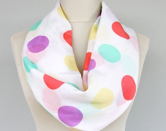 Infinity scarf polka dot scarf pastel clothing circle scarf rainbow loop scarf colorful scarf easter celebration scarves for women gift