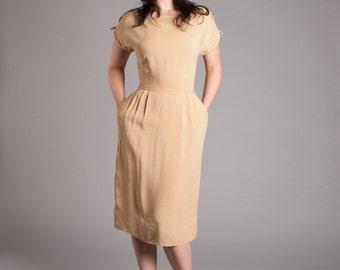 50s Linen Dress - Vintage 1950s Dress - Herbert Sondheim Dress