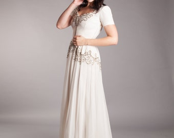 Vintage 1940s Wedding Dress - Chiffon 40s Wedding Gown - Spark of Love Wedding Gown