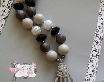 SKELETON HAND Necklace- Chunky bubblegum necklace, Girls chunky necklace, Gumball necklace, Bottle Cap necklace