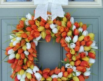 Easter Wreath -  Easter Tulip Wreath - Easter Door Wreath - Easter Wreath - Spring Front Door Wreath