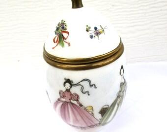 Trinket Box Egg Vintage Porcelain Container Lid Hand Painted Small Vessel Princess Pastells Vanity Dresser Valentine