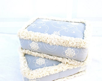 Vintage Pillow Pillows Shabby Chic Farm House Cottage Garden Pillow Blue White Pillow Embroidered Pillow Flower Fringe Pillow Pillows