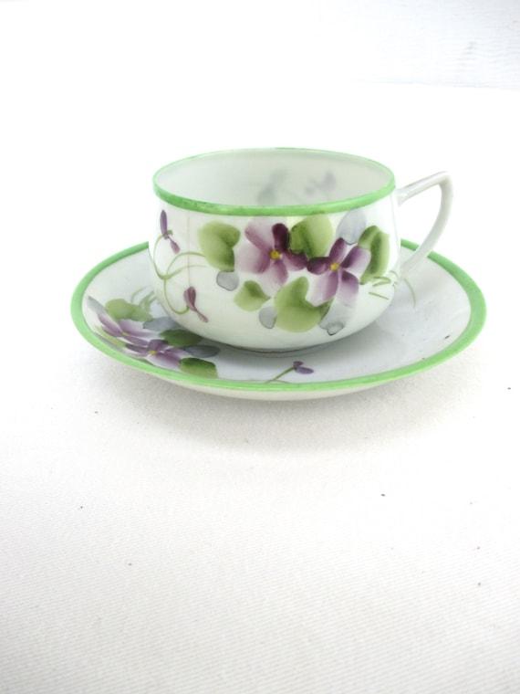 Vintage Tea Coffee Cups Violets Purple Flowers Set Green Purple 1940 40s Japan Dainty