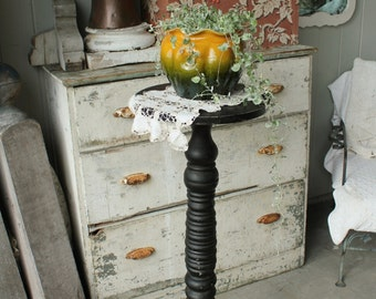 Antique Black Painted Oak Plant Fern Stand