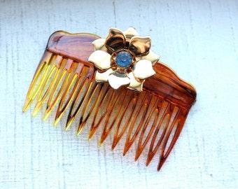 1 Vintage 1960's Tortoiseshell Hair Comb // Hair Flower // Sapphire Rhinestone