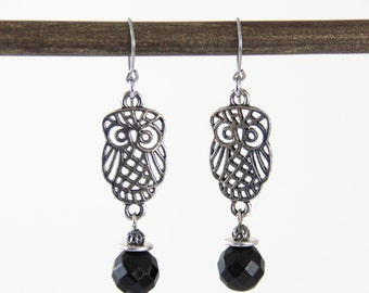 OUT OF TOWN - Night Owls - Faceted Black Onyx Stone Silver Tone Owl Dangle Beaded Earrings - Metallic Gray Grey Filigree Owl Earrings