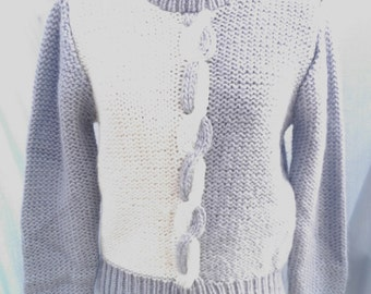 Vintage 1970s Sweater Blue Grey With White Changing Scene Label