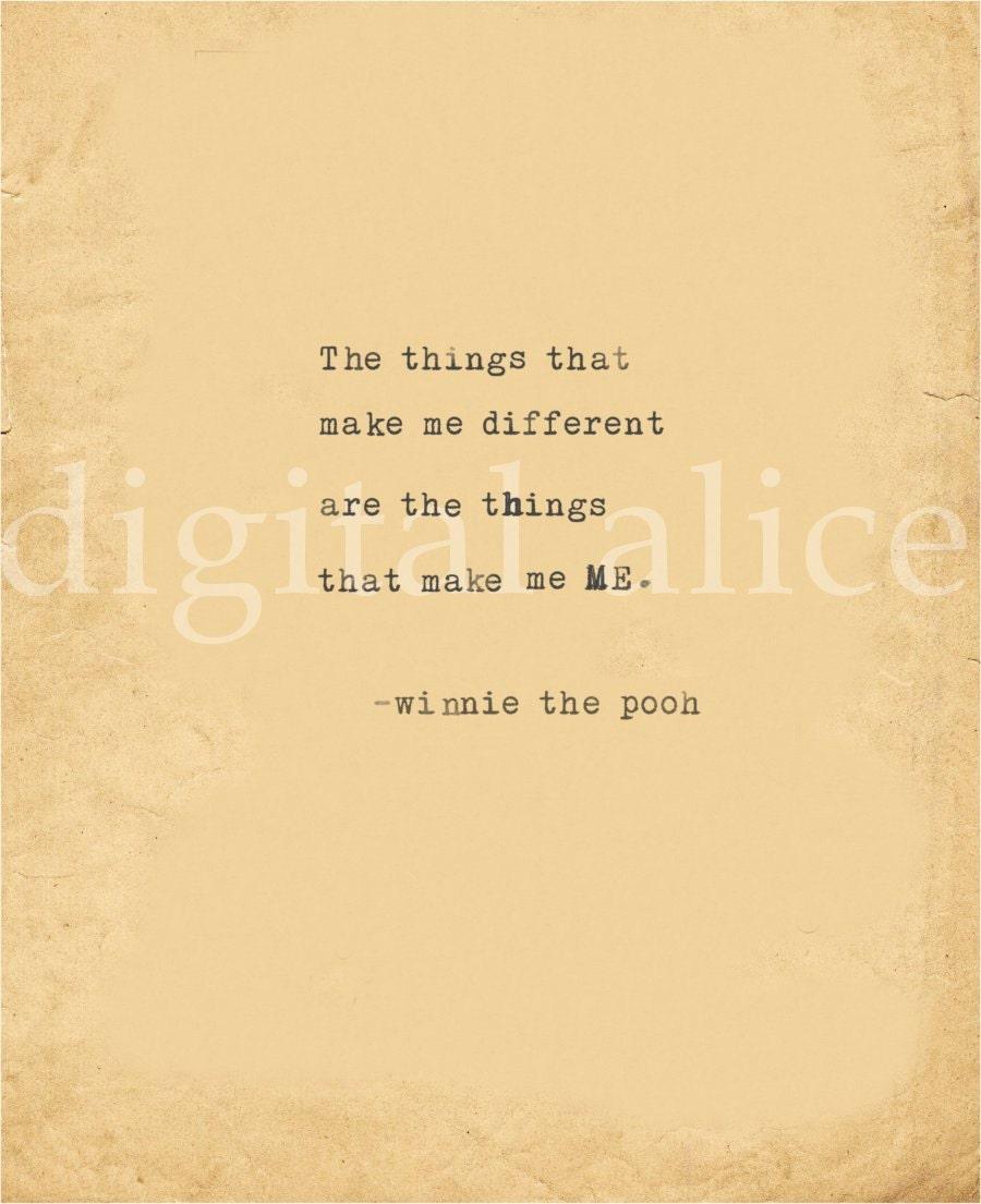 VINTAGE TYPEWRITER PRINT Winnie The Pooh Love Quote
