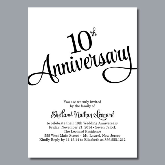 10 Year Wedding Anniversary Invitations: 10th Wedding Anniversary Invitations Personalized Printable