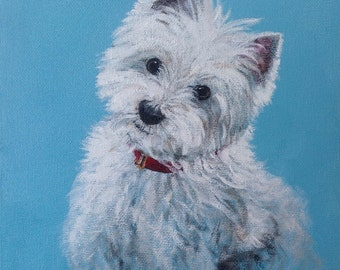 """Westie Dog Portrait, West Highland Terrier Print, Dog Painting, Animal Print.  """"Zoe - Meaner Than She Looks""""."""