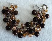 Cha Cha Bracelet, Charm Bracelet, Amber and Brown, Swarvoski Crystal, Chunky Bracelet, Coffee Bracelet, Shabby Chic Jewelry - COFFEE LOVER