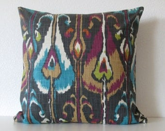 Robert Allen Ikat Bands Storm dark gray turquoise colorful decorative pillow cover