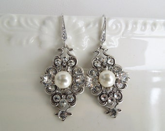 Pearl Wedding Earrings Wedding Jewelry Crystal Bridal Earrings Swarovski Crystal Earrings Bridal Jewelry Bridal Rhinestone Earrings CLAUDE