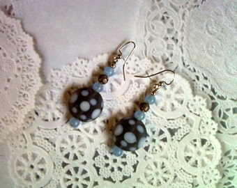 Cornflower Blue and Gray Spotted Earrings (1943)