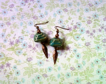 Teal Blue and Copper Earrings (1740)