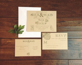 Succulent Wedding Invitation Bohemian Wedding Invitation Rustic Wedding Invitation Kraft Paper Wedding Invitation Floral Teal Green