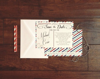 Vintage Paris France Airmail Save the Date Postcard, Red Blue White Stripped Airmail Save the Date, Stamp and Love Story Save the Date