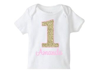 Gold Pink Number Birthday Shirt , Girls 1st Birthday Shirt or Bodysuit