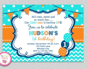 Boys Chevron Birthday Invitation , Boys 1st Birthday Invitation , Kids Birthday Invitation