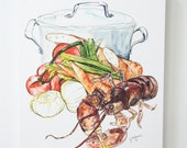 Lobster Bisque Watercolor Print